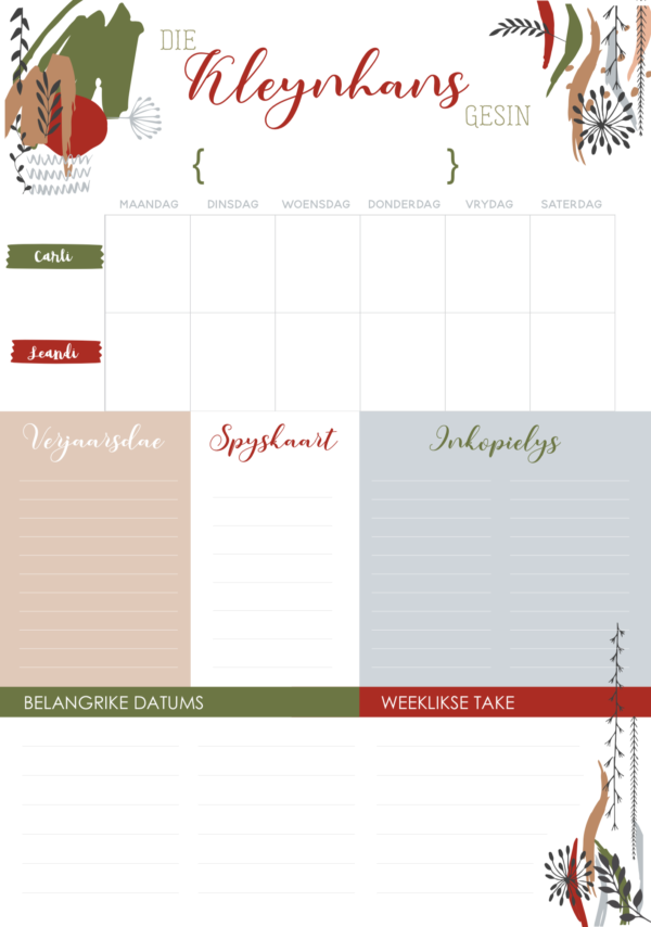 Family Planner Afrikaans