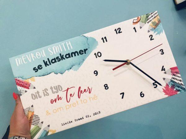 Teacher Canvas Clock Afrikaans