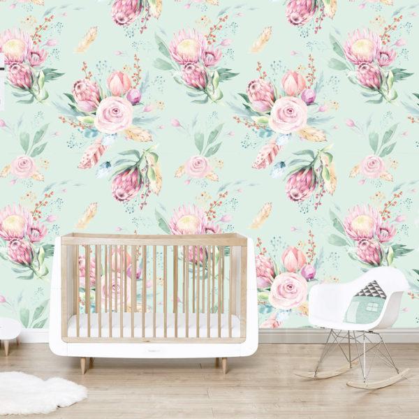 Mint Protea Wallpaper