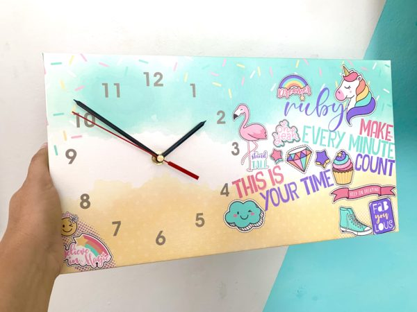 Unicorn Canvas Clock