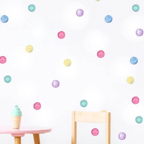 Rainbow Watercolour Polka Dot Decals