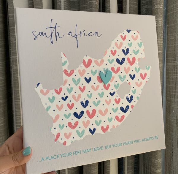 South Africa Heart Canvas